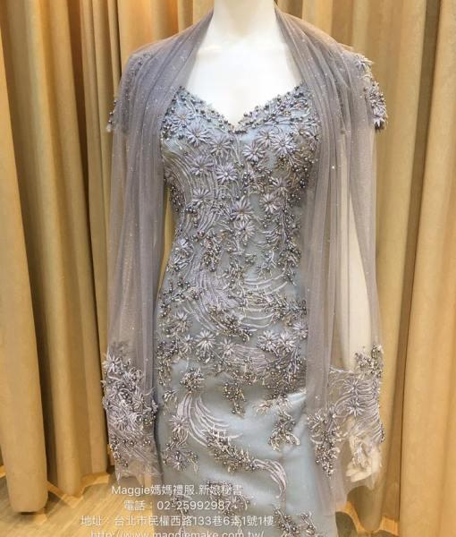 [媽媽禮服]K008冰晶藍蕾絲淺色藍珍珠名媛風晚禮服