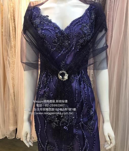 媽媽禮服,深寶藍,蕾絲,花朵,不規則線條,深V,卡肩晚禮服