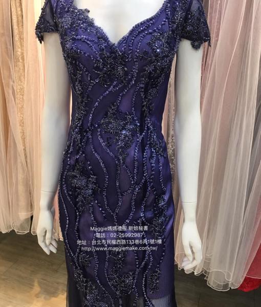 [媽媽禮服]K013深寶藍蕾絲花朵不規則線條深V卡肩晚禮服