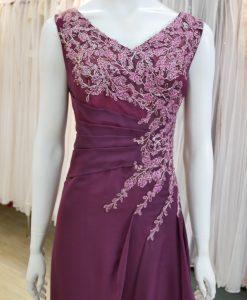 台北媽媽禮服,紫色,V領,雪紡紗,蕾絲,刺繡,長禮服,披肩