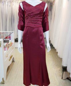 台北媽媽禮服,紅,緞面,V領,串珠,魚尾裙,長禮服