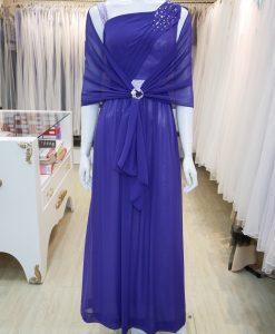 台北媽媽禮服,紫色,雪紡紗,A-line,長禮服,披肩