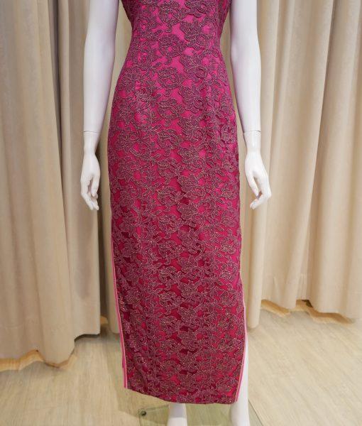 紫色,蕾絲,旗袍,短袖,長旗袍,媽媽禮服,婆婆禮服,主婚人,台北媽媽禮服, ,媽媽裝禮服,媽媽宴客禮服,媽媽晚宴服
