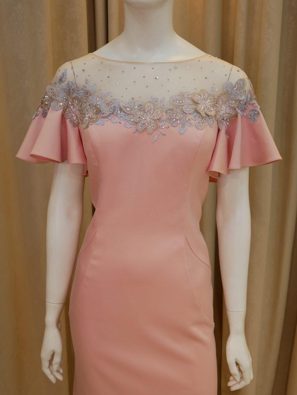 粉紅,緞面,荷葉袖,亮鑽,寬領,長禮服