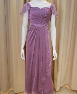 紫色,雪紡紗,荷葉袖,桃心領,亮鑽,長禮服