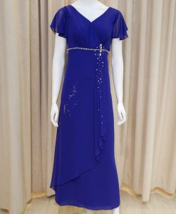 藍色,雪紡紗,荷葉袖,V領,亮鑽,長禮服,披肩