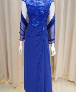 藍色,雪紡紗,圓領,亮片,刺繡,長禮服,披肩
