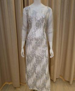 銀色,白色,亮片,V領,長禮服