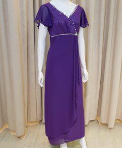 紫色,雪紡紗,荷葉袖,V領,亮鑽,長禮服,披肩