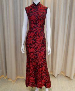 黑色,紅色,魚尾裙,無袖,長旗袍