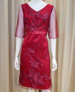 紅色,緞面,蕾絲,亮鑽,V領,五分袖,小禮服,短版禮服,媽媽禮服,婆婆禮服,主婚人,台北媽媽禮服, ,媽媽裝禮服,媽媽宴客禮服,媽媽晚宴服