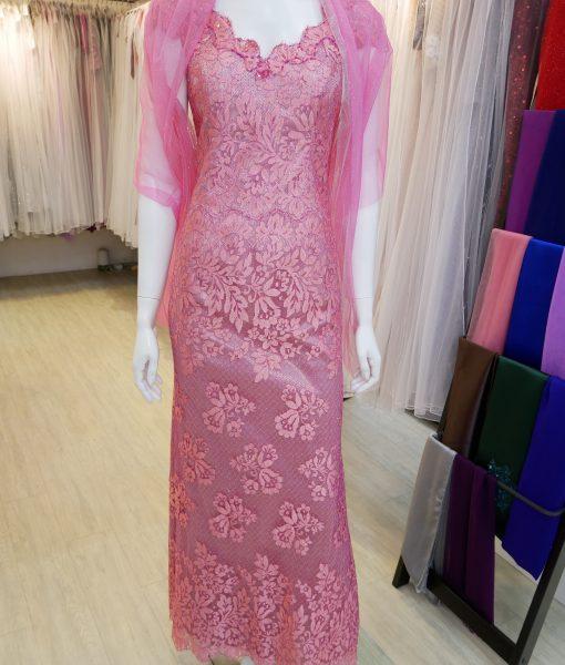 (台北媽媽禮服)MK13桃紅亮紗蕾絲花邊領手工串珠長禮服