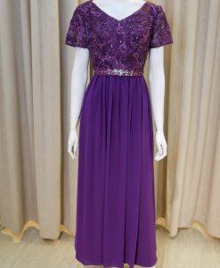 紫色,V領,短袖,繡花,亮鑽,雪紡紗,長禮服