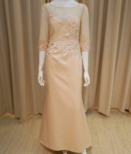 (台北媽媽禮服)MK02淡雅粉黃緞面手染貼花亮鑽七分袖長禮服