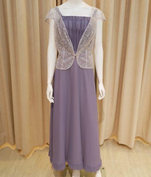 (台北媽媽禮服)MK03簡約紫灰雪紡亮珠小外套平口細肩長禮服