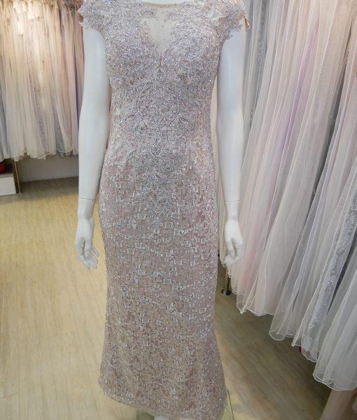 (台北媽媽禮服)M53藕粉亮鑽蕾絲包肩長禮服