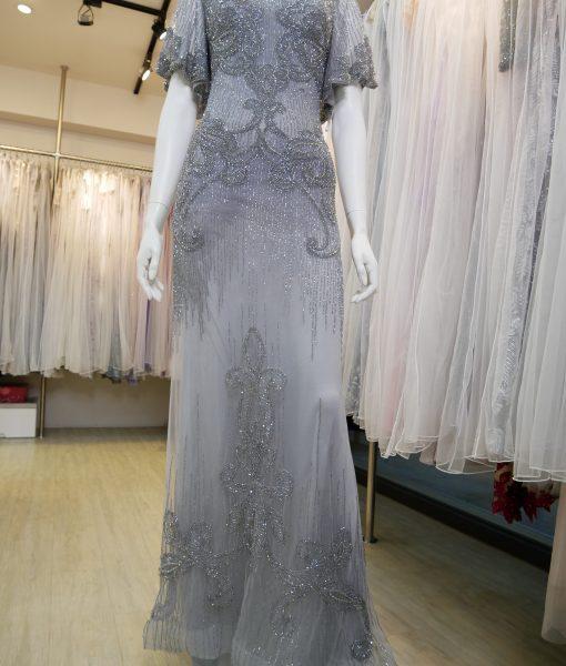 (台北媽媽禮服)M55銀灰華麗珠工荷葉袖長禮服