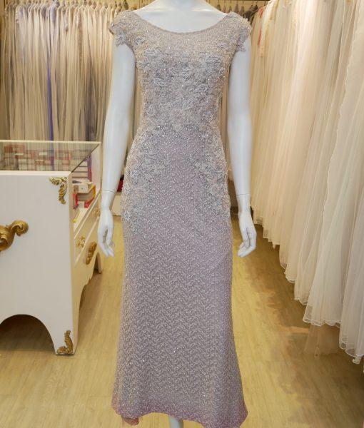 (台北媽媽禮服)M58藕粉蕾絲珠工亮鑽暈染紅裙擺長禮服