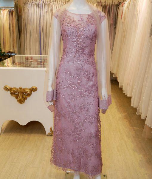 (台北媽媽禮服)MB47藕紫亮片花亮紗長禮服