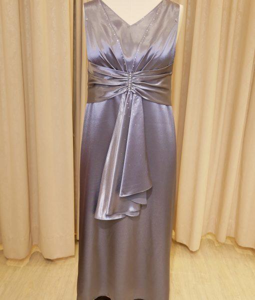 (台北媽媽禮服)MS101大尺碼銀緞面抓皺亮鑽A-line長禮服