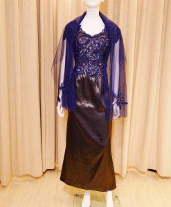 藍色,黑色,緞面,短袖,長禮服,媽媽禮服,婆婆禮服,主婚人,晚宴服,台北媽媽禮服, ,媽媽裝禮服,媽媽宴客禮服,媽媽晚宴服,媒人婆,好命婆