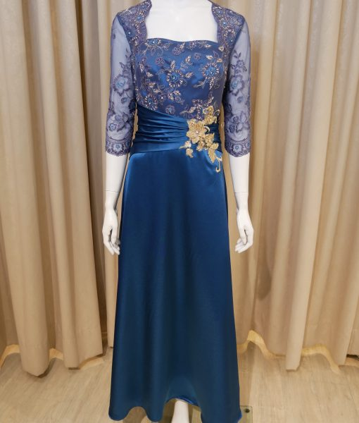 (台北媽媽禮服)MK23孔雀藍緞珠工蕾絲袖A-line長禮服