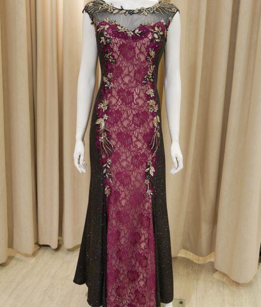 (台北媽媽禮服)MK24超修飾酒紅蕾絲黑亮紗亮片魚尾長禮服