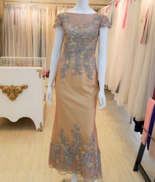 (台北媽媽禮服)MK45金蕾絲珠工亮紗長禮服