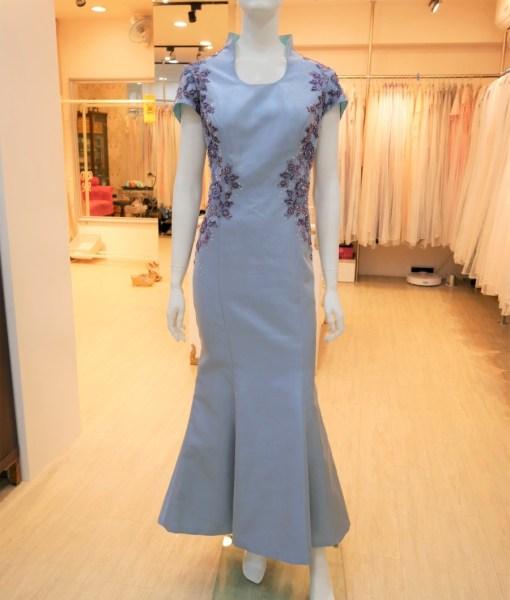 (台北媽媽禮服)MK36灰藍亮緞珠工蕾絲魚尾長旗袍