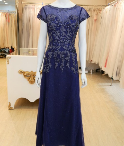 (台北媽媽禮服)MK48藍亮紗蕾絲貼花A-line長禮服