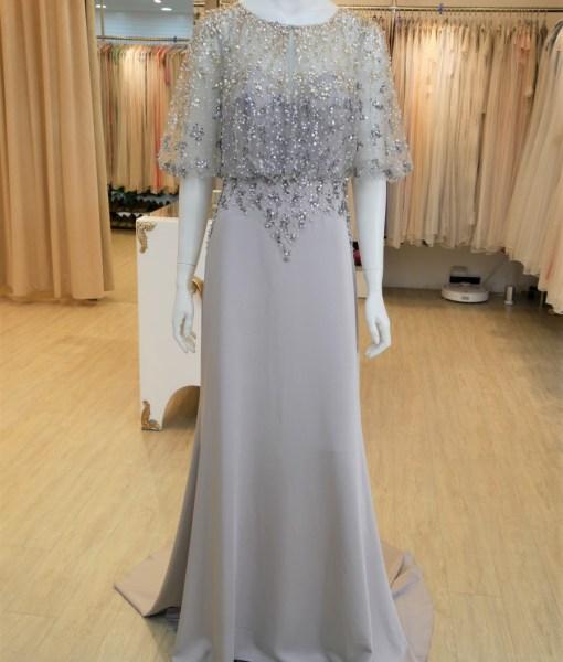 (台北媽媽禮服)M64銀灰雙色亮片珠工長禮服
