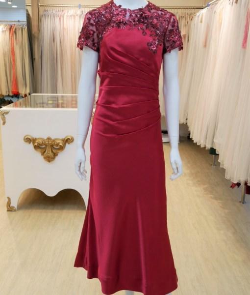 (台北媽媽禮服)MB36紅緞亮片蕾絲抓皺修飾長禮服