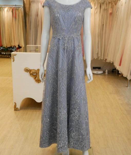 (台北媽媽禮服)MK32灰藍亮紗蕾絲A-line長禮服