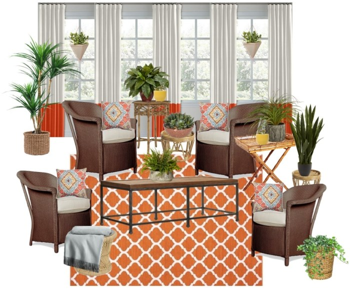 bohemian-sunroon-outdoor- plants-screen-porch -blue-orange