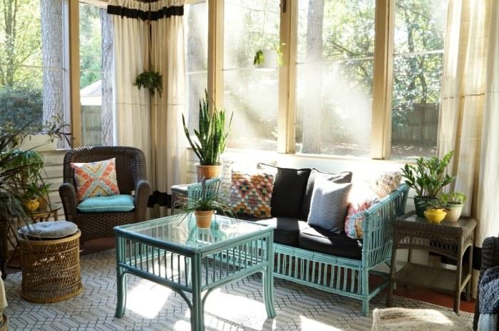 bohemain-screen-porch-aqua-orange-wicker-black-white-rug