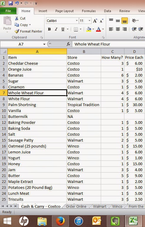 Using Excel to Make a Shopping List - Maggie\u0027s Milk - Shopping List And Prices