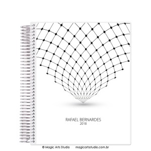 Magic Planner tamanho Large com espiral prata - Abstract Minimalist