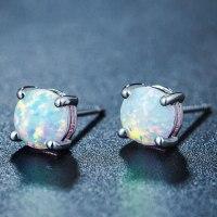 White Fire Opal Stud Earrings   Magick Jewelry