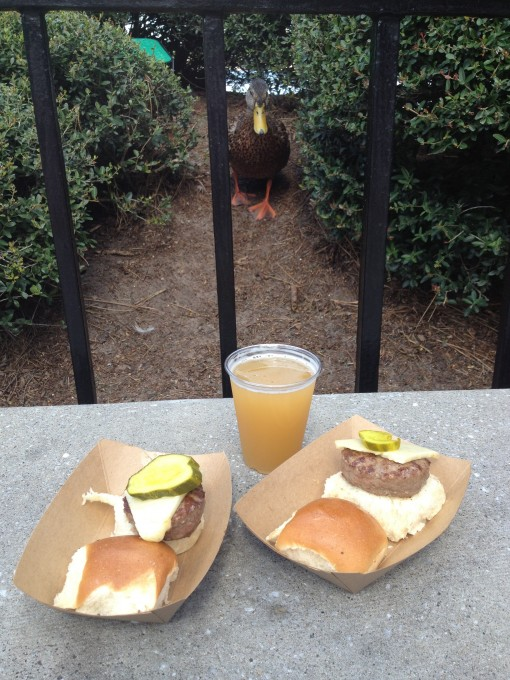 Florida Local's Florida Grass-Fed Beef Slider with Monterey Jack and Sweet & Hot Pickles and Cigar City Brewing Florida Cracker Belgian-style White Ale at the Epcot International Food and Wine Festival