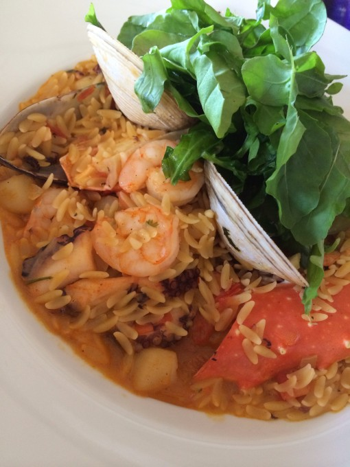 Orzo pasta seafood stew at the Ritz Carlton, Cancun