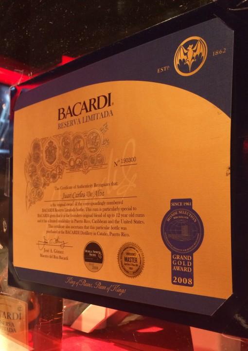 Certificate of Authenticity for Bacardi Reserva Limitada at Casa Bacardi Distillery in San Juan, Puerto Rico