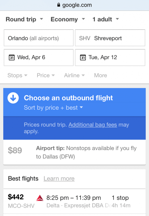 Flights from Orlando to Shreveport- Why is Shreveport so hard to get to?