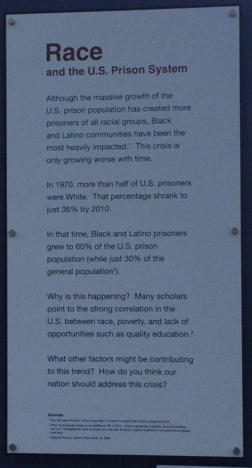 A thought provoking look at the racial make up on US prisons today courtesy of the Eastern State Penitentiary in Philadelphia.