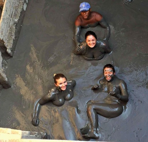 Climb inside a volcano for a warm mud bath at El Tutomo just outside of Cartagena, Colombia