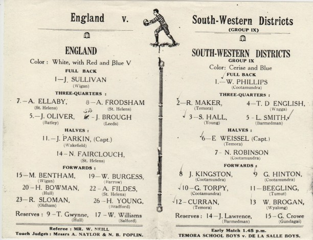 "Over 7000 witnessed the match at Fisher Park on 30 May 1928 between the English and a Group 9 ""South-western Districts"" side captained by Eric Weissel. The score was 14-14 and the side contained five Cootamundra players."