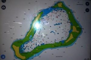 Kartbild på atollen Chagos som är vårt nästa mål.
