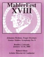 MahlerFest XVIII - 2005 Program Book