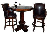 3 Piece Bar Table and Leather Swivel Stool Set | eBay