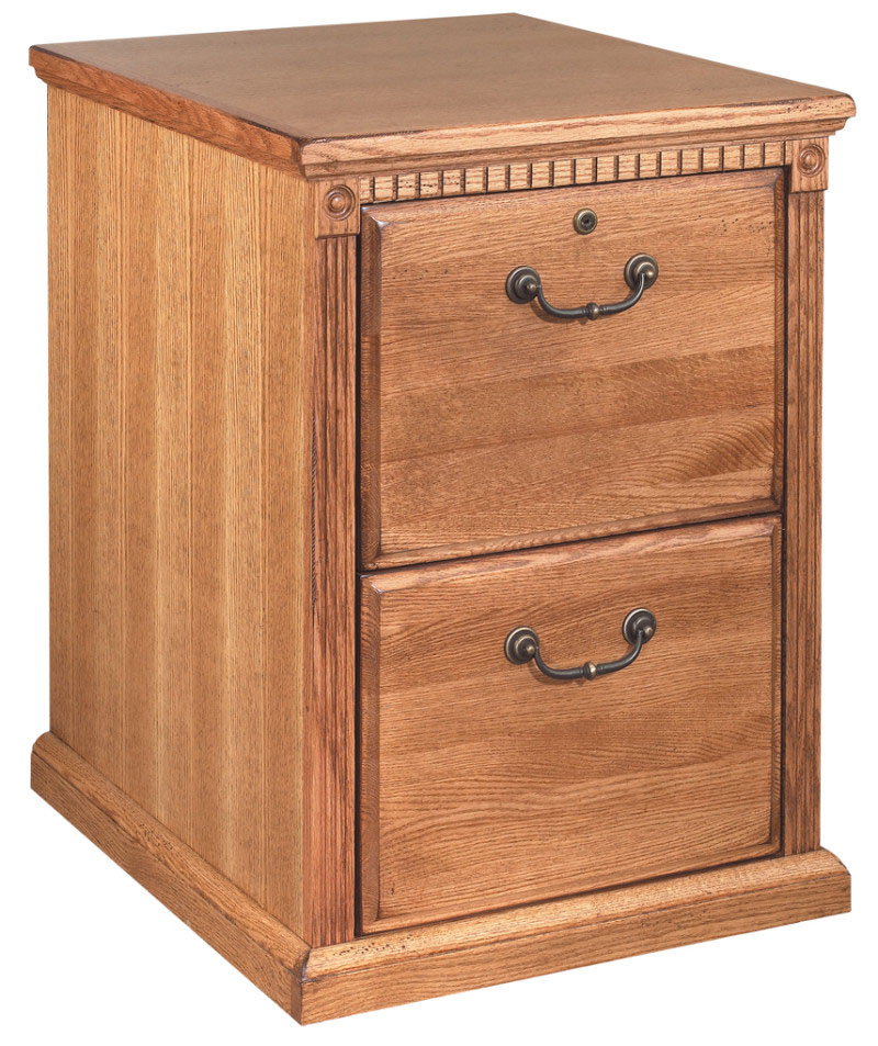 Golden Oak Two Drawer Wood Office File Cabinet