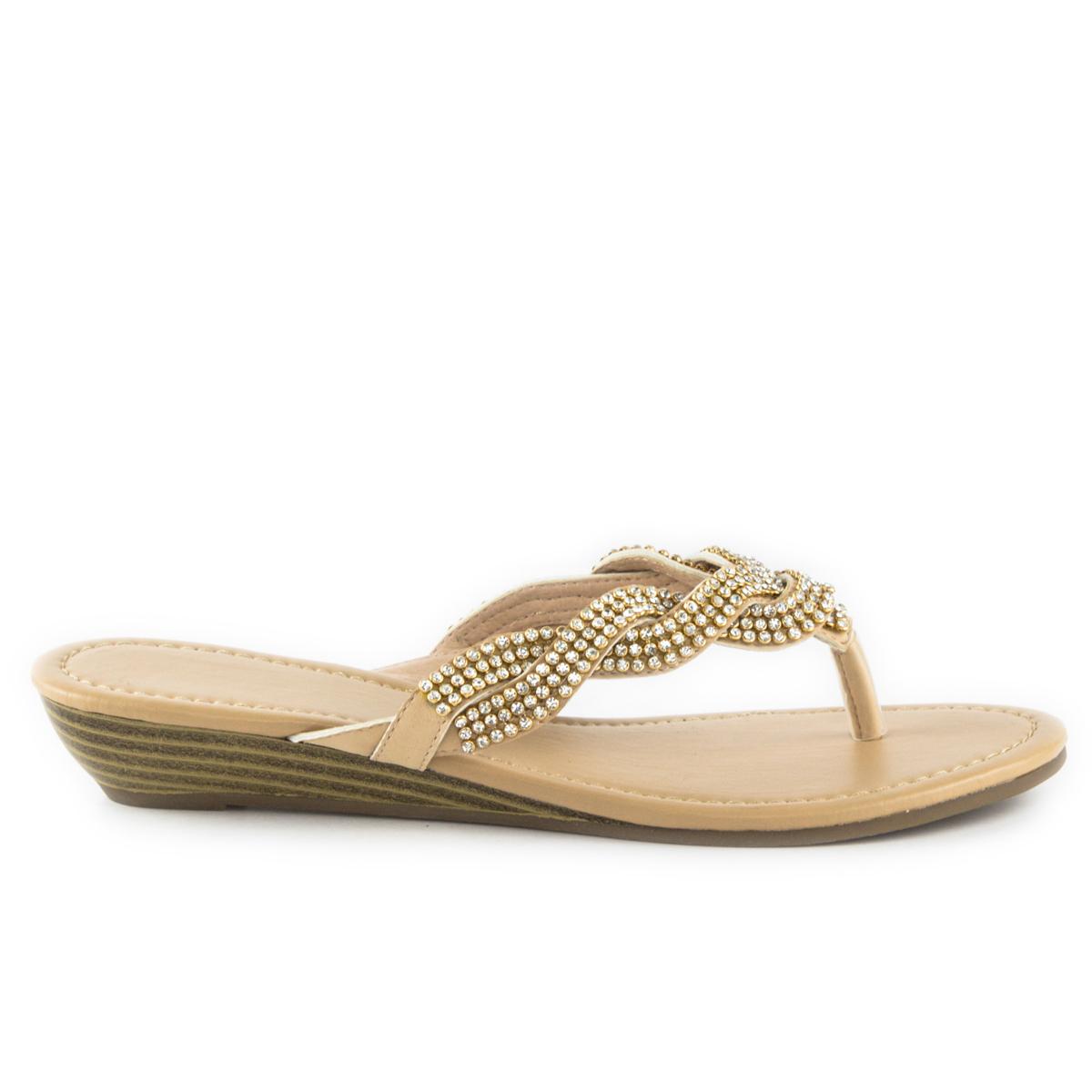 Shoe zone lilley womens nude diamante toe post sandal 12 99